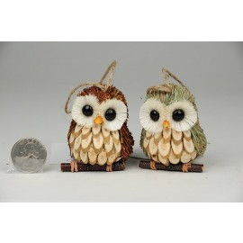 Owl Brn/Grn on Branch w/Hanger Asst*2 2.5''